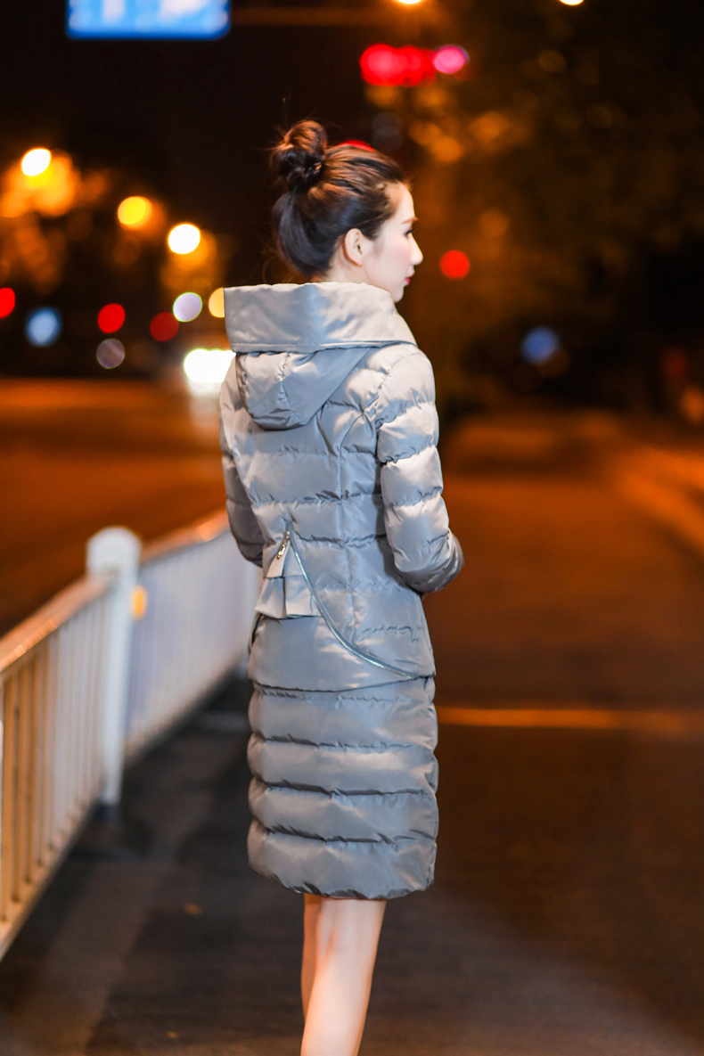 SexeMara Real Shot 2018 Winter New Down Cotton Suit Fashion Suit Female Small Fresh Warm Hooded Two-Piece Elegant Dress (24)