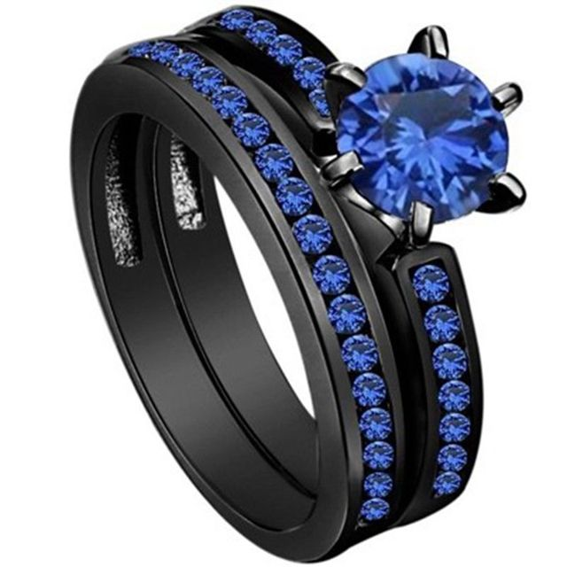 Vecalon Dropshipping Female Blue Birthstone Ring Aaa Zircon Cz Black Gold Filled Party Wedding Band