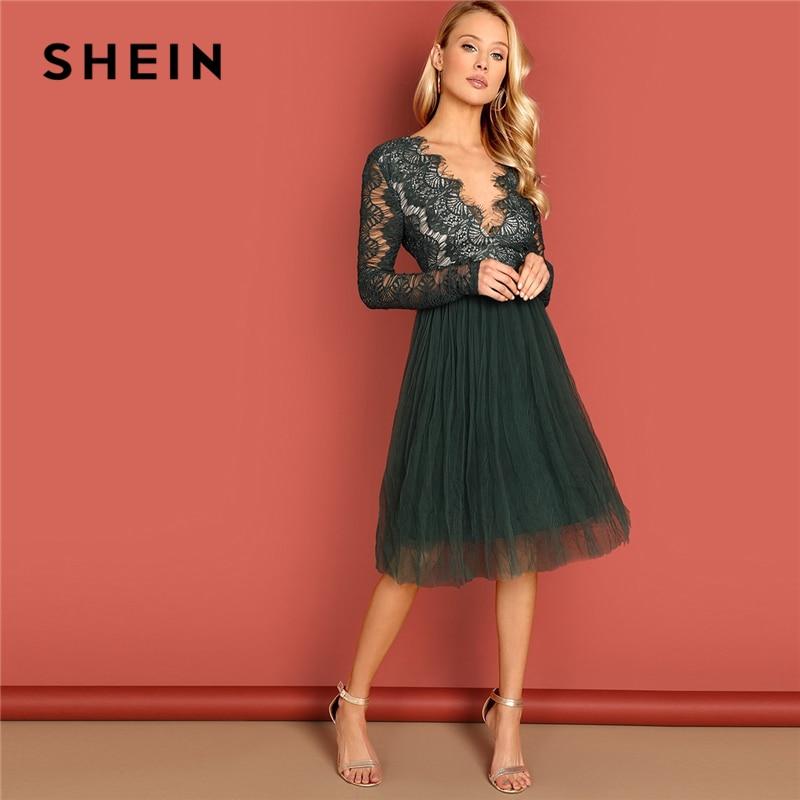 Donde comprar materiales superiores lindos zapatos € 20.95 43% de DESCUENTO|SHEIN verde profundo cuello en V vestido de encaje  de manga larga de cintura alta transparente otoño Sexy noche de fiesta ...