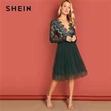 SHEIN vert profond col en v dentelle robe à manches longues taille haute Transparent automne Sexy fête soirée élégante femmes robes