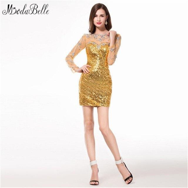 962570a086 modabelle 2017 Bling Bling Gold Short Long Sleeve Homecoming Dresses Sequin  8th Grade Prom Dresses Backless Robe de Cocktail