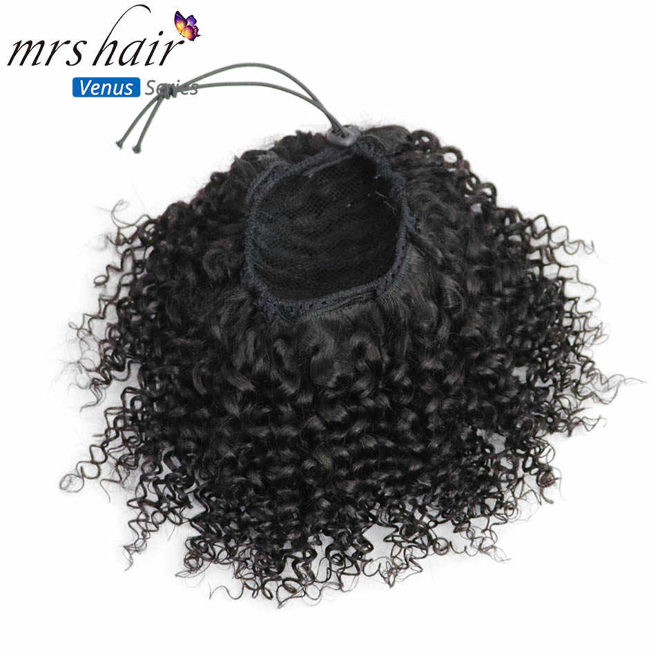 MRSHAIR Afro Kinky Curly Ponytails Virgin Hair Extension Natural Black Woman Remy Brazilian Clip en Pieces Drawstring Pince Cheveux coletas cola de caballo cabello humano extensiones naturales