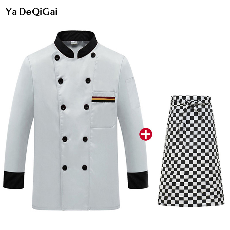 New Long Sleeved Restaurant Kitchen Chef Uniforms Catering Waiter Workwear Cooking Jacket + Apron Chef  Chinese Clothes For Men