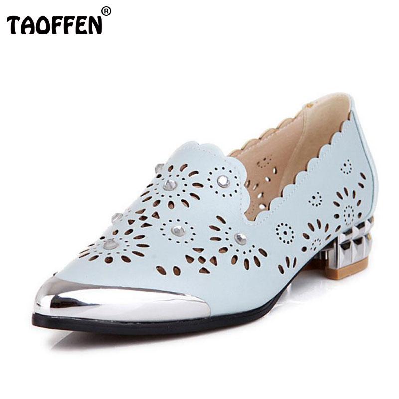 TAOFFEN new pattern women flat sandals summer fretwork meatal head brand ladies cozy footwear flats shoes
