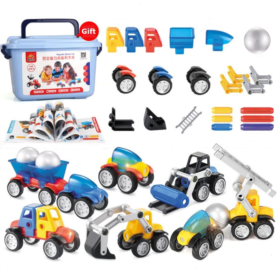 Children Magnetic Blocks Car  Kids Toy Gift DIY Construction Car Model Set zcube 7 kinds carbon fiber sticker speed magic cubes puzzle toy children kids gift toy youth adult instruction