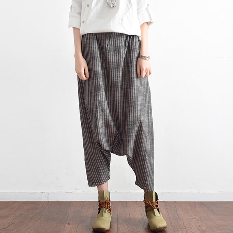 SCHMICKER 2018 di Goccia Estate Biforcazione Lungo Pantaloni Pantalon Donne Lavoro D'ufficio Casual Vintage Vita Elastica A Righe Baggy Harem Pants