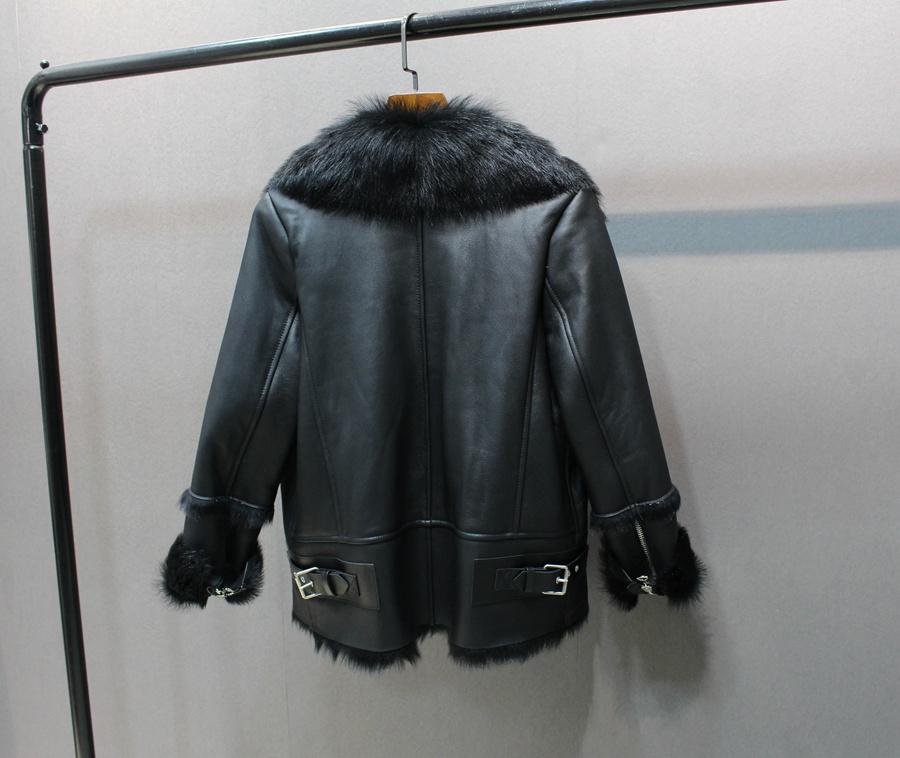 women natural leather and fur winter jacket warm (7)