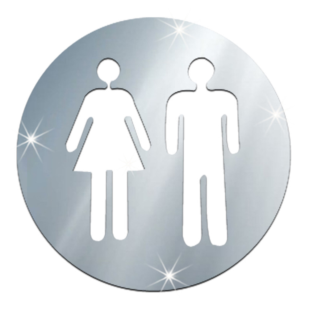 Woman&Man Restroom Sign Washroom Logo WC Wall Mirror Stickers Silver Toliet Door Signage Home Hotel Office Wall Sticker Supplies