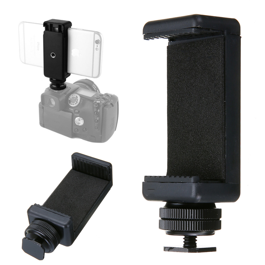 Mayitr High Quality 1/4 Phone Clip Holder + Black Hot Shoe Adapter Mount for DSLR Camera 58 to 88mm Cell Phone 360 degree rotation chuck cell phone holder mount bracket adapter clip with 1 4 screw for 54mm 102mm phone vertical