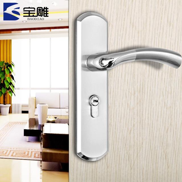 TOP European brushed stainless steel interior bedroom door handle ...