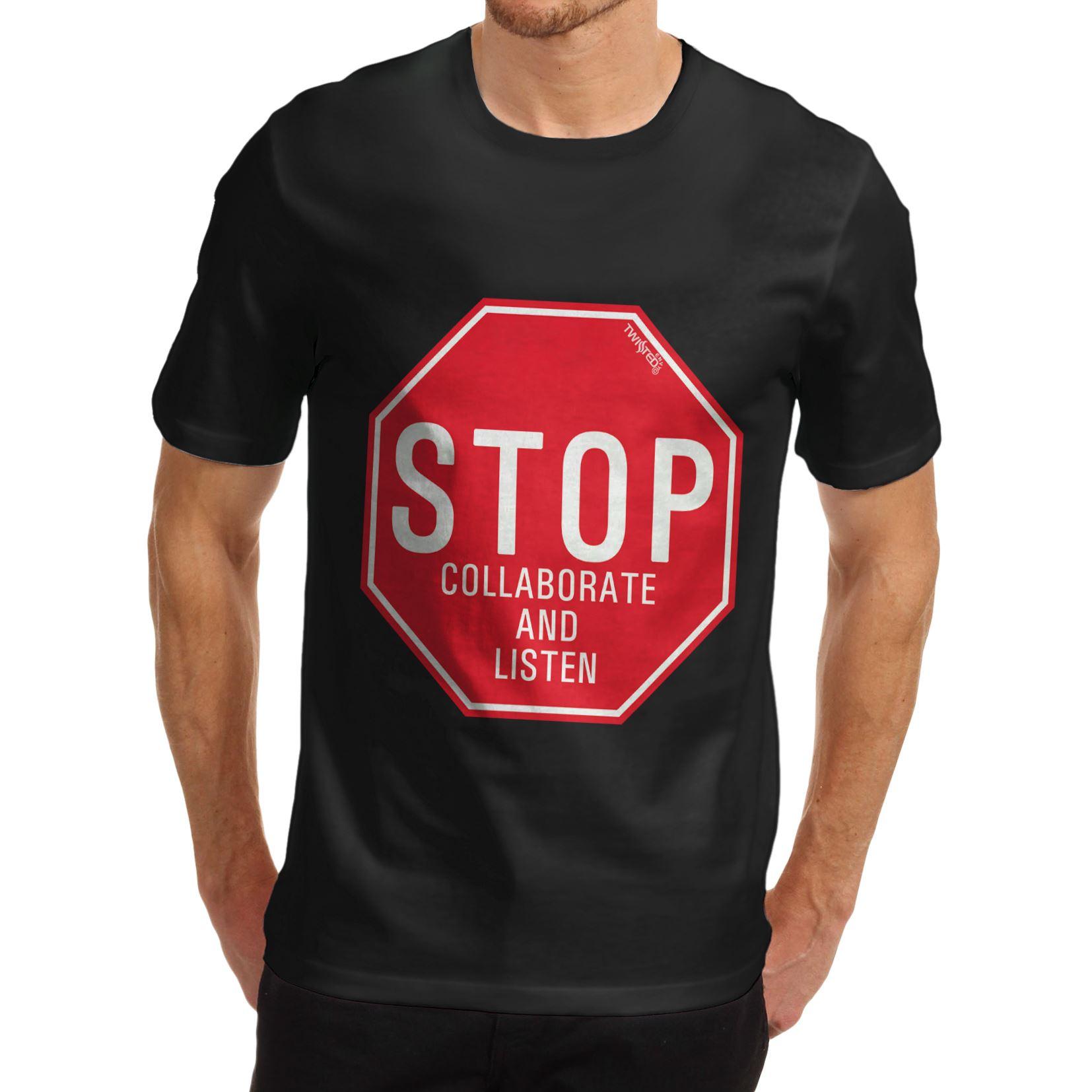 product Brand T Shirt Men 2017 Fashion Stop Collaborate & Listen 100% Organic Cotton T Shirt New Short Sleeve Round Collar