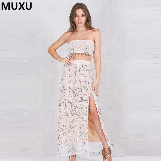 MUXU sexy women backless fashionable dresses mesh patchwork sequin glitter  moda feminina two piece set long party vestidos mujer 632bc7b0b3bb