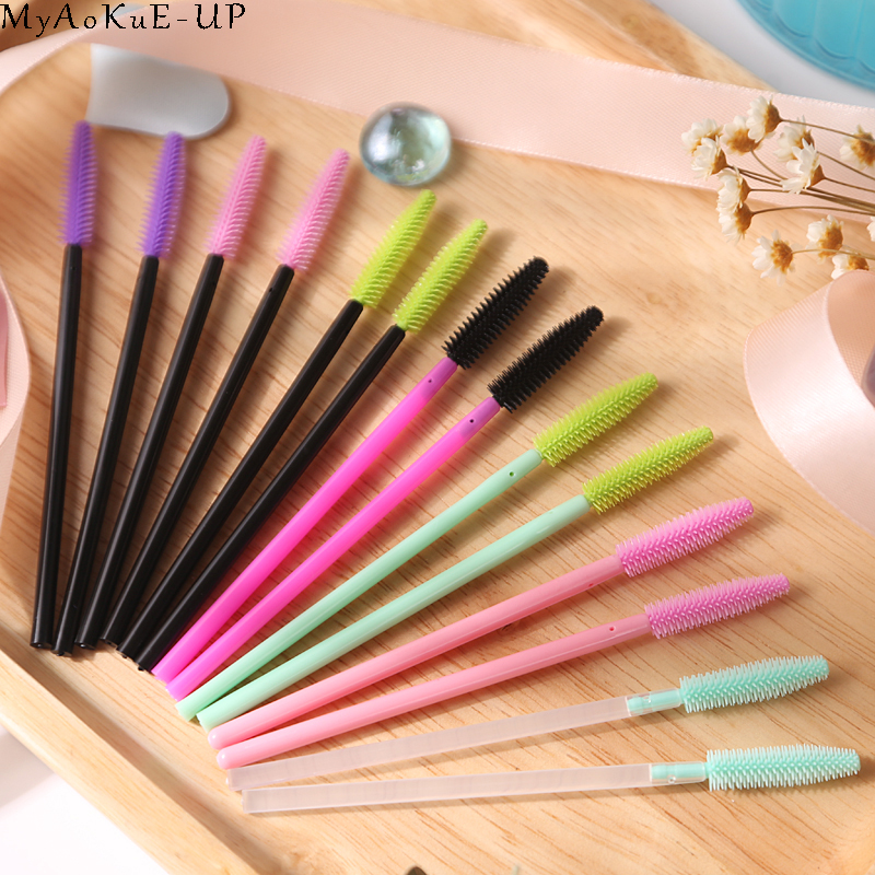 1000 pcs/lot Wholesale Silicone Eyelashes Brushes 21 colors  Disposable Makeup Brushes Eyelash Extension Mascara Wand Applicator-in Eye Shadow Applicator from Beauty & Health