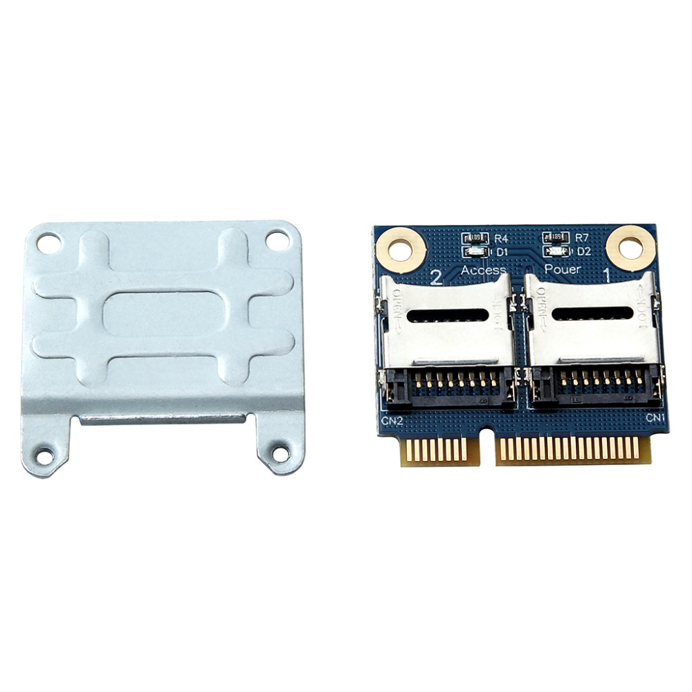 Mini PCIE Card Adapter PCI-e mpci-e to Dual TF SDHC SDXC Reader Adaptor PCI-E TO TF Card Support Windows 7 / Vista / XP Mac OS image
