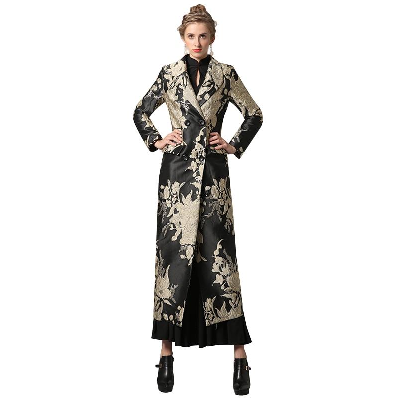 S-XXXL Autunno Inverno Jacquard Cappotto Lungo Dorato Florals Plus Size di Lusso Trench Donna Doppio Petto Musulmano Outwear Coat 6359