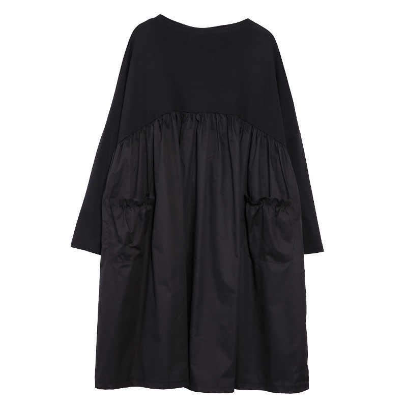 Johnature ファッション黒 2019 春の女性のドレス O ネックロングスリーブパッチワーク A ラインポケット女性カジュアルドレス