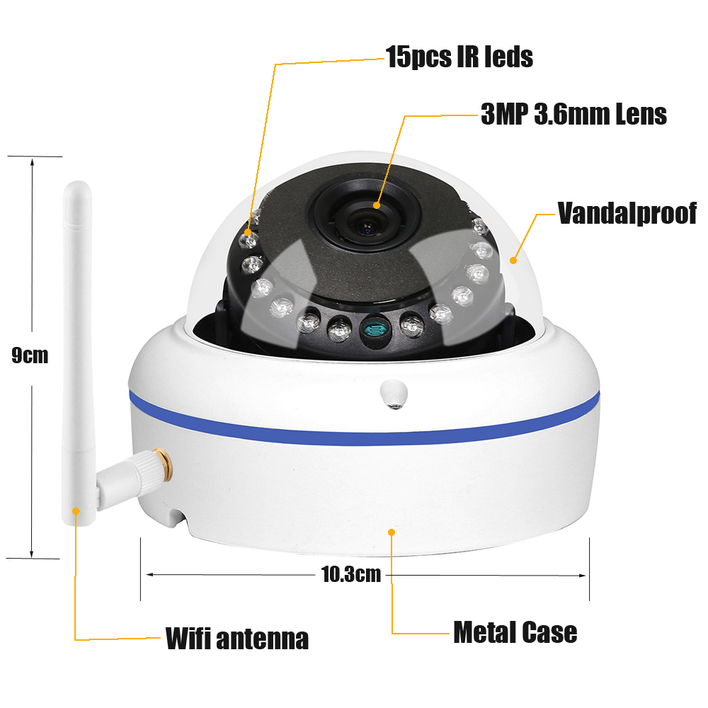 Image 3 - GADINAN HD 5MP 2592*1944 WiFi Wireless ONVIF Dome IP Camera Outdoor Waterproof Security Camera with Built in Micro SD Card Slot-in Surveillance Cameras from Security & Protection