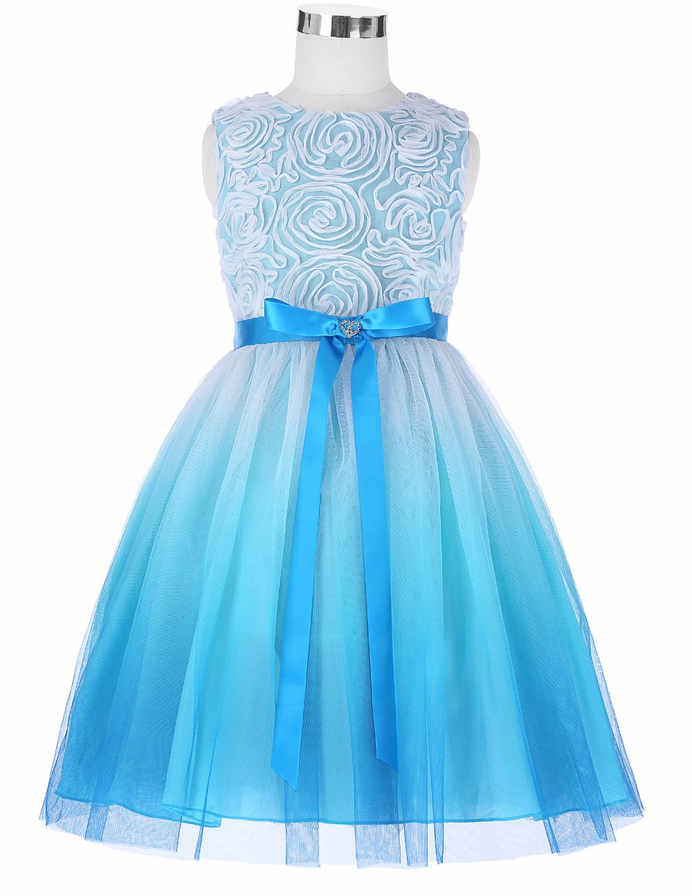 Grace Karin 2017 Flower Girl Dresses Luxury Tulle Flower Party Dresses For Wedding Party First Communion Dresses With Bow Ribbon 12