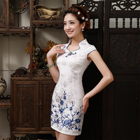 New Design Elegant Dress Chinese Retro Sexy Mini Qipao Short Sleeve Cheongsam Mandarin Collar Chinese Dresses