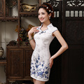 New Design Elegant Dress Chinese  Retro Sexy  Mini Qipao Short Sleeve white Cheongsam Mandarin Collar Chinese Dresses