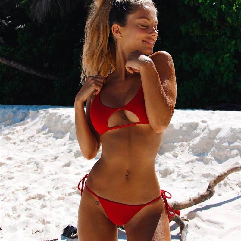 Hollowed Red Sexy Bikini Set Women String Swimsuit Push Up Swimwear 2019 Tied Thong Brazilian Bikini Bathing Suit Swim Wear 1