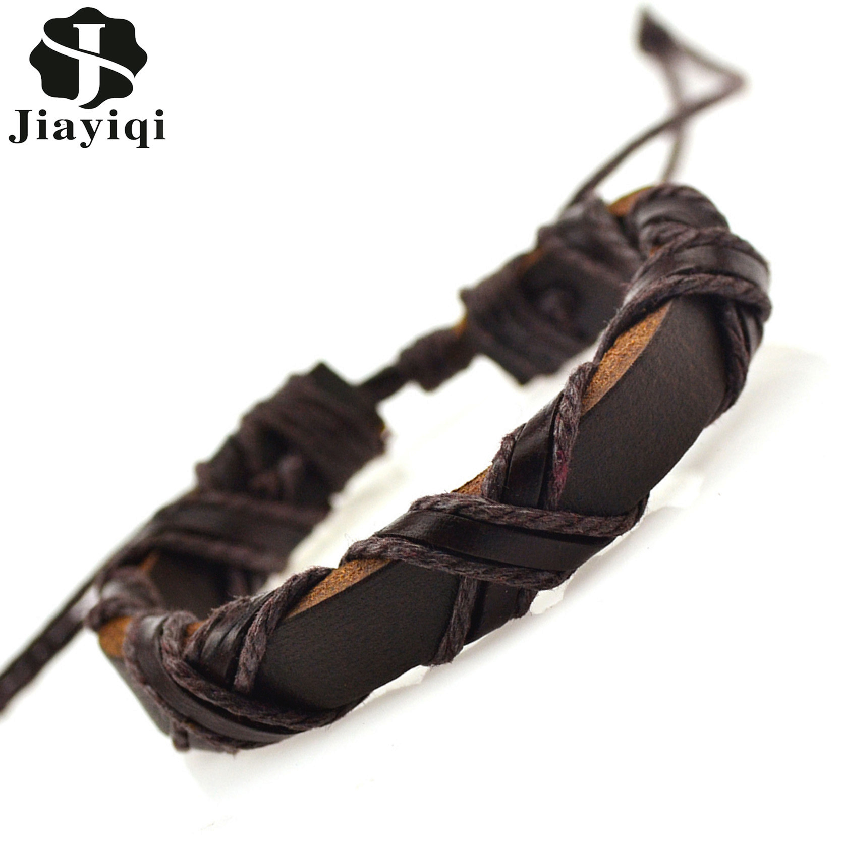 Handmade Vintage Punk Braided Genuine Leather Bracelet Fashis