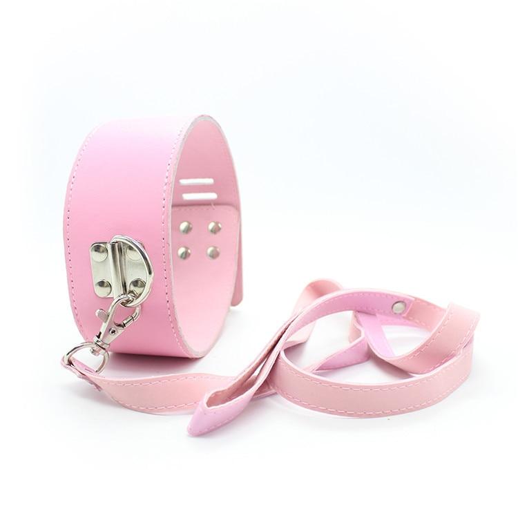 Buy neck corset  leather harness bondage pink/black collar leash sexy toys bdsm fetish slave sex adult collars couples