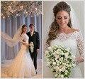 Уникальный A-Line Высокая Шея Аппликации Кружева Свадебные Платья Vintage Длинные Рукава Свадебное Платье Пляж Свадебное Платье