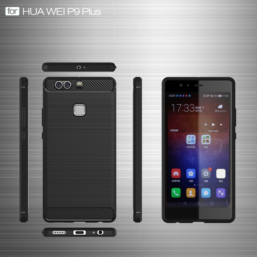 Phone Case For Huawei Ascend P9 Plus Cases Carbon Fiber Shockproof TPU Soft Silicone Cover For Huawei P9Plus in Fitted Cases from Cellphones Telecommunications