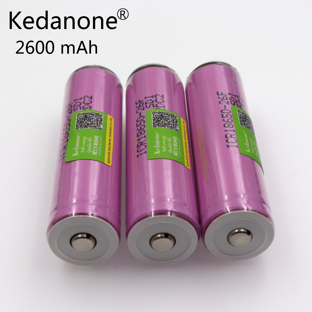 Kedanone protected 18650 battery original For samsung new 18650 2600mah battery ICR18650 26F M Li lon rechargeable with PCB image