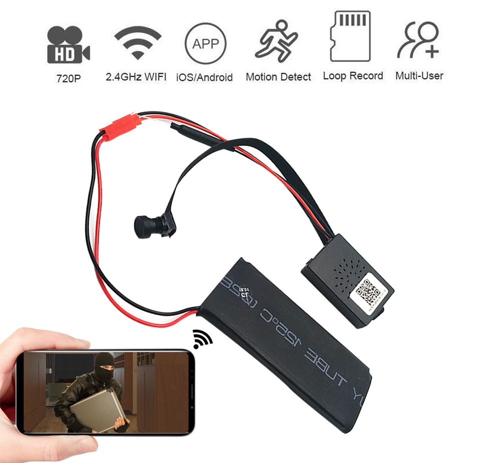DIY Module Camera Mini Wifi Camera Full HD 1080P IP Cam Motion Detection Video Security with 2.4G RF Remote Control Loop Record