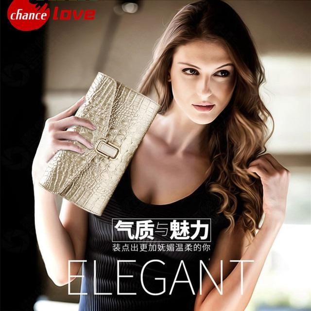 Fashion crocodile grain women's clutch bag leather women Shoulder Bag clutch evening bag   female Clutches Handbag Messenger Bag