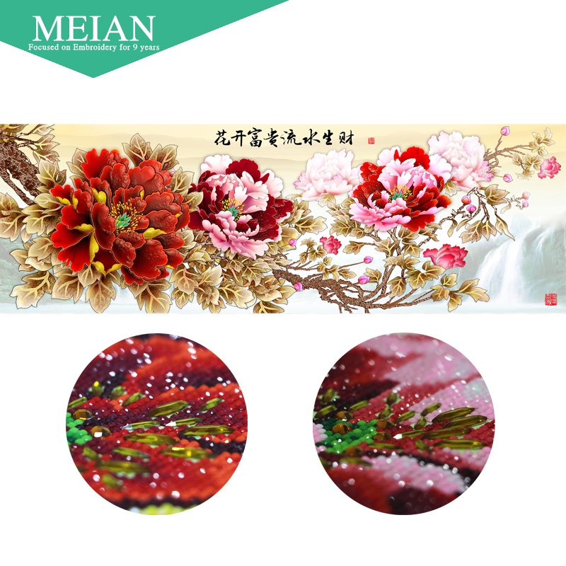 Meian Special Shaped Diamond Embroidery Flower Peony 5D Diamond Painting Cross Stitch 3D Diamond Mosaic Decoration