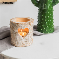 Rangnic Wooden Heart Candle Holders For Home Decor Collectibles Desktop candlestick Classical Decoration candelabra Romantic