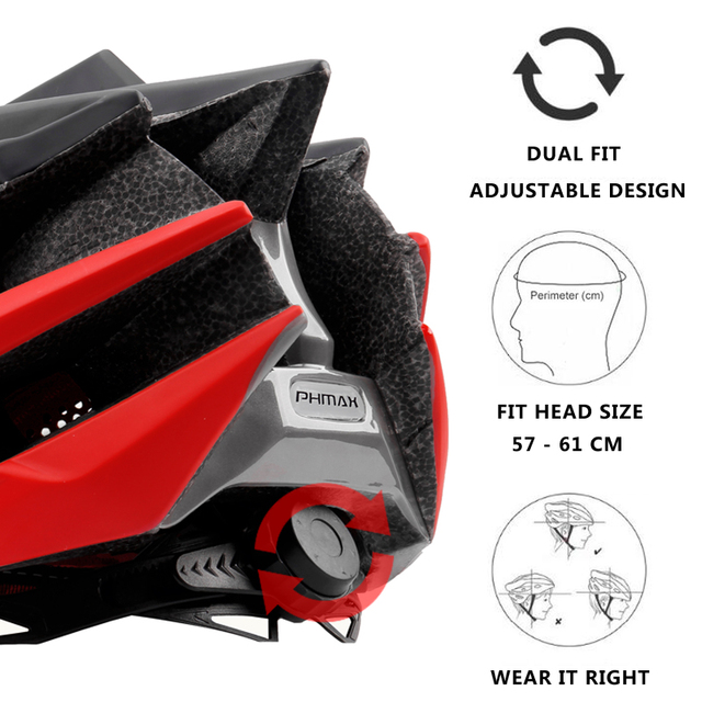 Phmax capacete ultraleve para ciclistas, 2020, capacete de ciclismo com cobetura eps + pc para bicicletas de montanha, mtb e estrada, moldado integralmente tampa segura 3