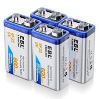 EBL 9 вольт перезаряжаемый литиевые батареи ion 9 V 600 mAh литий-ионные аккумуляторы (4-Packs)