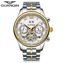 GUANQIN Watches Men 2016 New Fashion Mechanical  Business Tourbillon Watches For Male Waterproof Stainless Steel Wristwatches