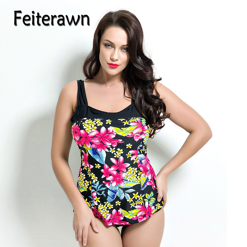 Feiterawn One Piece Swimwear Plus Size Print Floral Women Push Up Swimsuit Large Cup Bathing Suit Sexy Bodysuit Beachwear JR1689 plus size womens swimsuit one piece backless swimwear floral print padded bathing suits large cup bust swimsuits for lady
