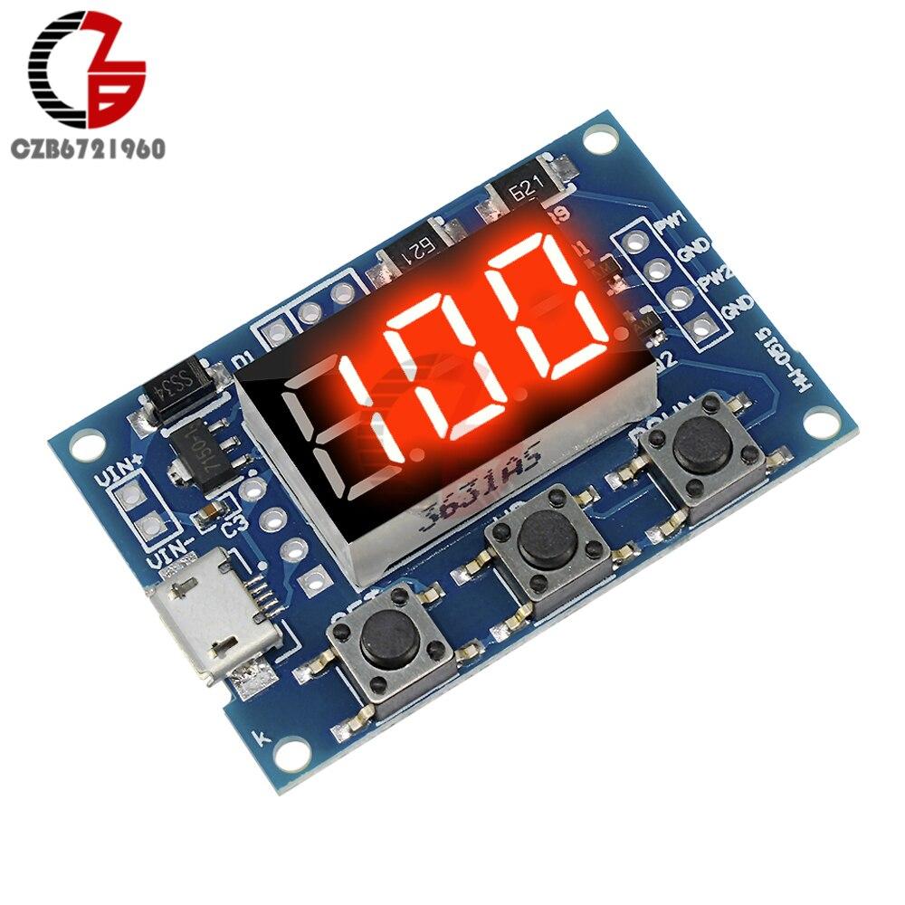 Micro USB DC 2CH réglable PWM générateur de Signal Cycle de service Module de fréquence d'impulsion Tube de affichage LED numérique cc 5V 12V 24V bricolage