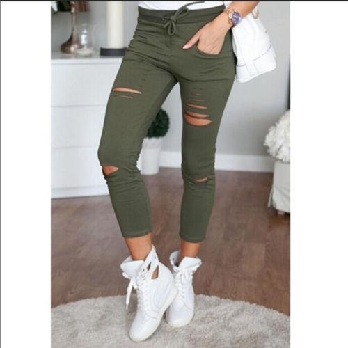 Женская обувь 2016 года Женские стрейч выцветшие рваные Slim Fit узкие джинсы Размеры UK 6 8 12 14