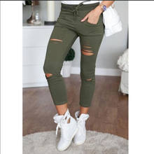 2016 Womens Ladies Stretch Faded Ripped Slim Fit Skinny Denim Jeans Size UK 6 8 12 14(China)