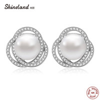 Shineland New Design Natural White Pearl Shiny Circle Earring Freshwater Pearl Earrings 925 Sterling Silver Studs