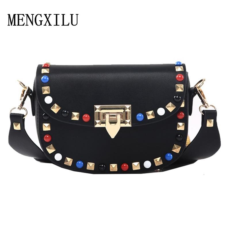 여성을위한 리벳 미니 PU 가죽 Crossbody 가방 유명 브랜드 디자이너 숙녀 숄더 가방 가을 새로운 패션 여성 핸드백