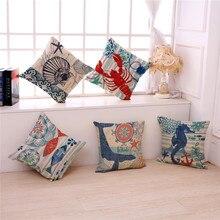 2017 New Mediterranean Sea Octopus Coral Car Decorative Pillow Case Linen  Cotton Cushion Cover Sofa Home