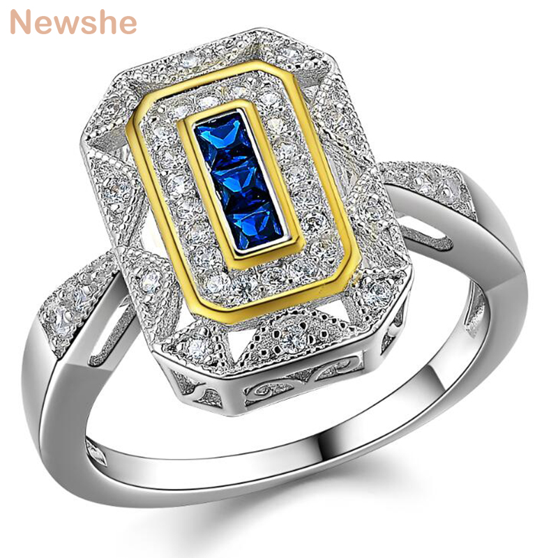 цена на Newshe Wedding Ring Classic Jewelry Solid 925 Sterling Silver White & Gold Color Plated Blue Zirconia Cocktail Ring For Women
