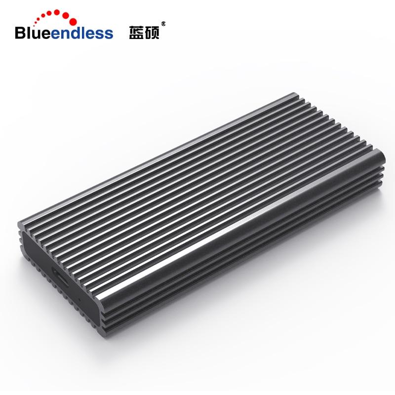 Blueendless NVME M.2 Ssd Cases Type-c Port High Speed Transmission Hard Drive Enclosure Heat Dissipation Black Aluminum Ssd