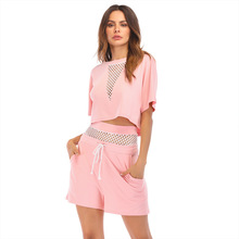 MUXU summer casual fashion woman clothes two piece set short pink sexy mesh womens top and pants streetwear 2018