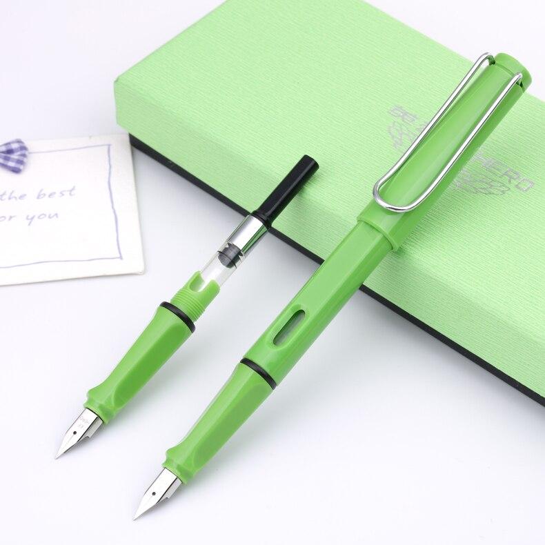 Hero 359 Summer Color Fountain Pen Green Extra Fine Nib Plus 6 Free Cartridges