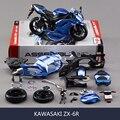 Kwsk zx6r motocicleta azul model building kits motocicleta modelo kits de construção 1/12 montagem de brinquedo caçoa o presente mini moto diy diecast
