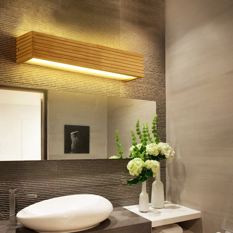 online store f9633 2cda0 US $42.9 22% OFF|Modern Led Indoor Wall Lamps Wooden Mirror Bathroom Light  Vanity Lights Fixture Make Up Luminaire Japan Design Warm Home Decor-in LED  ...